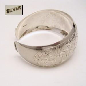 Signed SILVER Wide Engaved Cuff Bangle Bracelet Vintage Flowers Floral