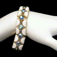 CROWN TRIFARI Vintage Bracelet Mid Century White Lucite Blue AB Rhinestone Half Moon Links