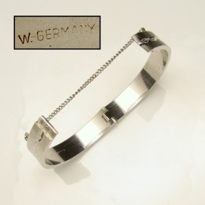 WEST GERMANY Vintage Bangle Bracelet Mid Century Scored Etched Hinged Solid