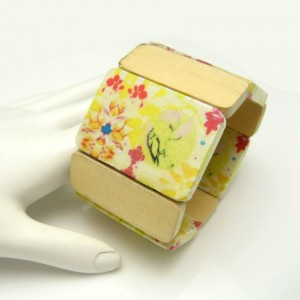 Vintage Painted Wood Panels Bracelet Mid Century Extra Wide Stretch Yellow Red Small Wrist