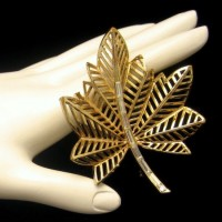 Early CORO Vintage Brooch Pin Mid Century Large Canada Maple Leaf Baguette Rhinestones Open