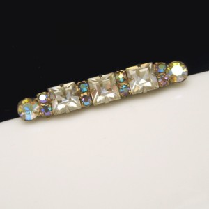 Vintage Bar Brooch Pin Mid Century Art Deco Revival Square Rhinestones Blue AB