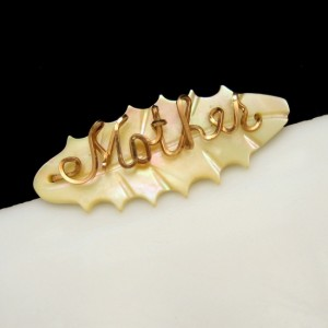 """Vintage """"Mother"""" Brooch Pin Mid Century Carved Mother of Pearl MOP Oval Metal"""