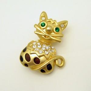 Vintage Cat Brooch Pin Mid Century Enamel Rhinestones Green Eyes Brown Spots Very Cute