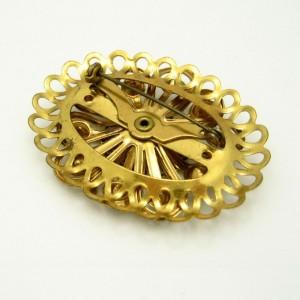 Mid Century Retro 1950s Large Dimensional Oval Brooch Pin Rhinestones Vintage Goldtone