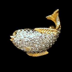 Vintage Fish Brooch Pin Pendant Mid Century Two Tone Beaded Silvertone Goldtone Trim