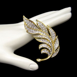 Mid Century Two Tone Rhinestones Large Leaf Vintage Brooch Pin NOS Sparkling Realistic Design