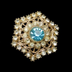Vintage Rhinestone Snowflake Brooch Pin Mid Century Aqua Glass Pretty Hexagon