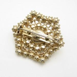 Vintage Rhinestone Snowflake Brooch Pin Mid Century Aqua Glass Pretty Hexagon