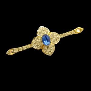 Vintage Bar Brooch Pin Mid Century Trefoil Blue Glass Rhinestone Large Stone Elegant