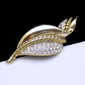 GEM CRAFT Vintage Brooch Pin Mid Century Rhinestones Extra Large Curved Leaf