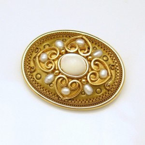 MICHAL GOLAN Vintage Brooch Pin Pendant Hearts Art Glass Faux Pearls