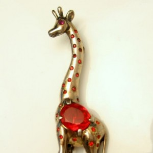 REJA STERLING Large Vintage Giraffe Brooch Pin Mid Century Silver Retro Red Crystals Figural Gold Vermeil