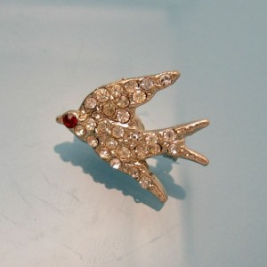 Vintage Rhinestone Bird Scatter Brooch Pin Mid Century Red Eye Charming Dainty Sparkling EUC