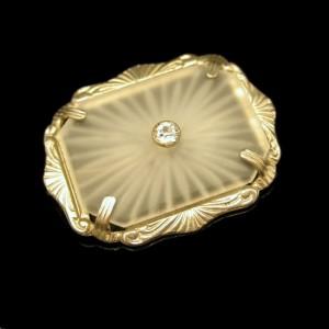 Art Deco Camphor Glass Vintage Brooch Rhinestone Paste Center Very Pretty