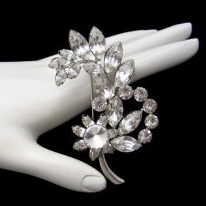Art Deco Style Vintage Rhinestones Flower Brooch Pin Mid Century Marquise Prong Set Floral