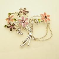 Mid Century Vintage Chatelaine Brooch Pin Enamel Flowers Pink Purple Rhinestones Rhodium
