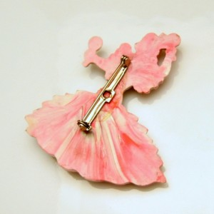 Vintage Brooch Pin Mid Century Figural Spanish Lady Dancer Plastic End of Day