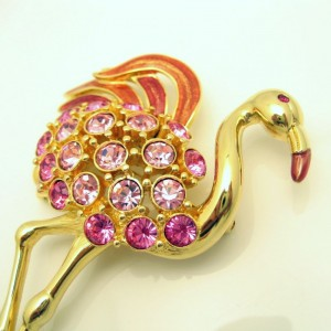 TRIFARI  Vintage Pink Flamingo Brooch Pin Enamel Rhinestones Huge Striking