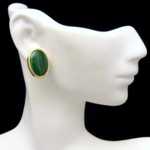 Vintage High Quality 14K Gold Malachite Oval Pierced Earrings Sleek Design