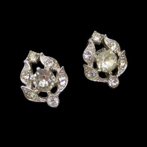 BOGOFF Vintage Rhinestone Rhodium Leaf Earrings Mid Century Screw Back High End Very Elegant
