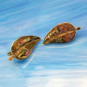 TAXCO MEXICO Vintage Abalone Earrings Mid Century Sterling Silver Large Statement