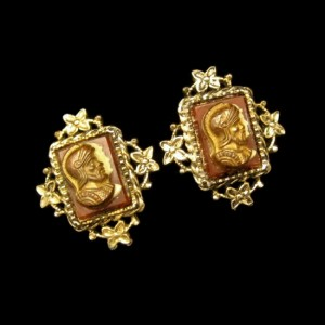CORO Vintage Cameo Clip Earrings Mid Century Heraldic Knights Design
