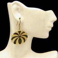 Vintage Pierced Dangle Earrings Black Yellow Enamel Flower Very Unique and Bold