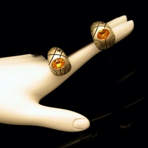Vintage Post Earrings Curved Gold Plated Engraved Topaz Glass Unique Design
