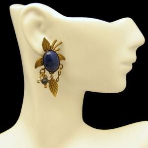 Vintage Dangle Earrings Southwest Faux Lapis Blue Glass Stones Feathers Chains