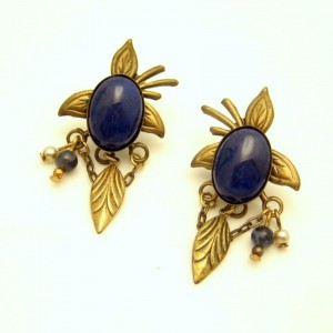 Vintage Dangle Earrings Southwest Faux Lapis Blue Glass Stones Feathers Chains