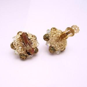 Vintage Clip Earrings Mid Century AB Crystal Filigree Beads 60s Chunky Classy Elegant