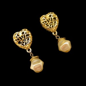 Vintage Earrings Mid Century Filigree Heart Baroque Faux Pearls Dangles Chunky Love Sweet