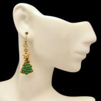 Green Enamel Christmas Tree Vintage Dangle Earrings Red Ornaments Stars