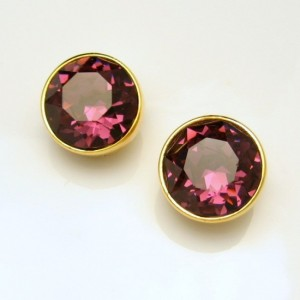 Vintage Earrings Mid Century Purple Amethyst Glass Circles Clips Large Stones NOS