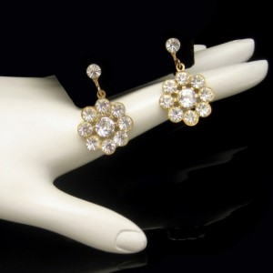 Vintage Earrings Mid Century 1950s Rhinestone Flowers Snowflake Large Pretty Dangles