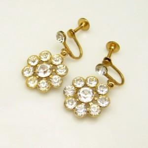 Vintage Earrings Mid Century 1950s Rhinestone Flowers Snowflake Large Pretty Dangles