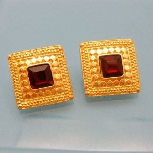Vintage Red Square Rhinestones Post Earrings Mid Century Textured Beaded Design Unique