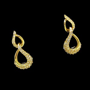 NAPIER Vintage Post Earrings Mid Century Rhinestone Dangles Shiny Goldtone Swirls Elegant