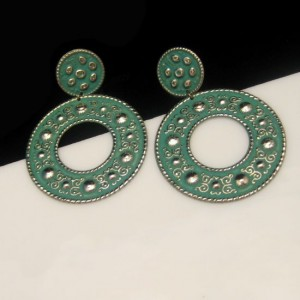 Vintage ELOXAL Earrings Mid Century Aluminum Green Enamel Large Dangles NOS Pierced