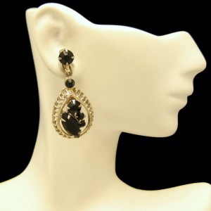 Vintage Clip Earrings Mid Century Black Rhinestone Teardrop Dangle Unique Design Silvertone
