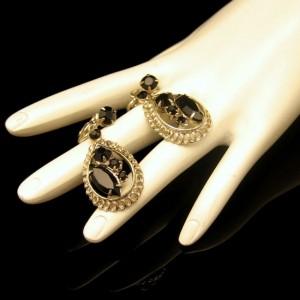 Vintage Clip Earrings Mid Century Black Rhinestone Teardrop Dangle Unique Design Silvertone