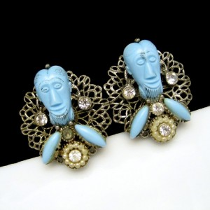 Signed Selro Vintage Clip Earrings Rare Blue Devil Genie Faces Figural
