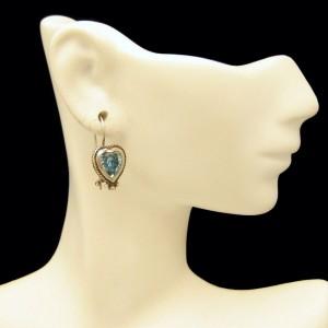 Vintage Heart Earrings Sterling Silver Mid Century Aqua Blue Glass Foiled Pierced