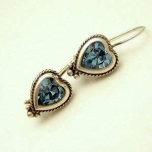Vintage Heart Earrings Sterling Silver Mid Century Aqua Blue Glass Foiled Pierced