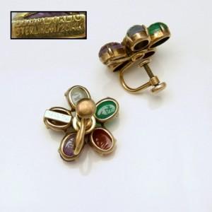 Symmetalic Sterling Egyptian Scarabs Vintage Earrings Mid Century Gemstones Silver Gold Filled