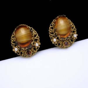 WEST GERMANY Vintage Earrings Mid Century Filigree Tiger Eye Glass Clips Rhinestones