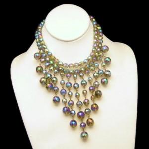 Vintage AB Crystal Beads Necklace Mid Century Massive Fringe Bib 2 Strands Brilliant Dangles