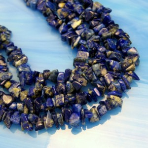 Vintage Lapis Lazuli Necklace Mid Century Gemstone Chips 36 inch Beautiful Color Variations