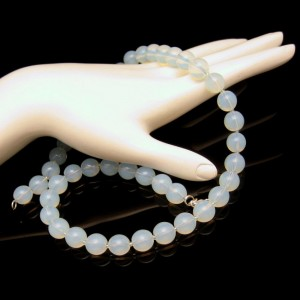 Vintage Necklace Mid Century Glass Beads Blue Opalescent Faux Moonstone Sterling Clasp